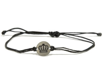 Black Strand with Stainless Steel My King/My Queen, Adjustable Bracelet for Women & Men - Waterproof, Hypoallergenic Jewelry