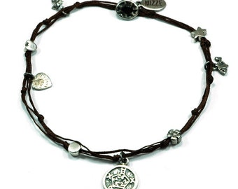 Safe Keeper Solomon Seal and lucky Charms Anklet in Brown