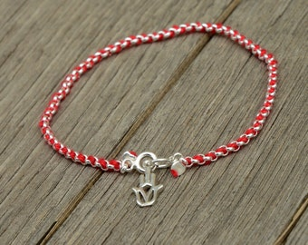 Sterling Silver Hamsa Charm on Link Chain with Red String Bracelet