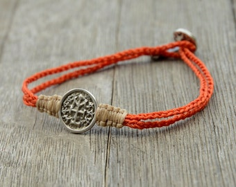 925 Sterling Silver Victory and Winning Charm Bracelet with Solomon Seal on Macrame Bracelet for Men and Women