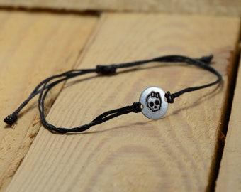 Black Strand with Stainless Steel GIRL POWER BFF Charm, Adjustable Friendship Bracelet for Women - Waterproof, Hypoallergenic Jewelry