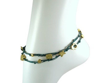 Charms Anklet for Good Luck and Protection in Denim Blue Wrap Anklet