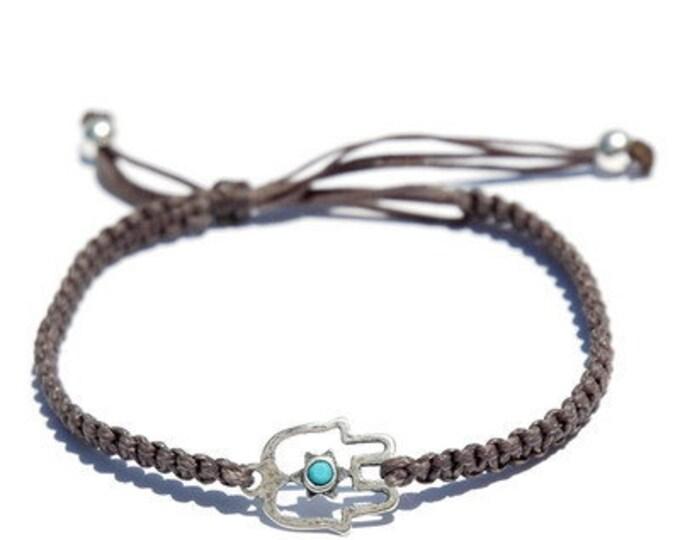 Hand Woven Dark Grey Sterling Silver Hamsa Bracelet
