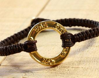Good Fortune & Health Gold Plated Charm on Brown Macrame Bracelet - Handmade for Women
