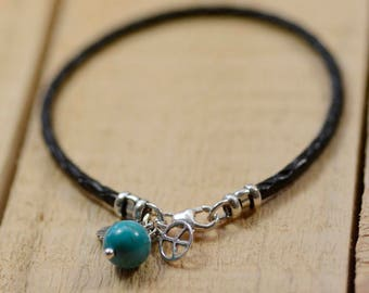 Sterling Silver Hamsa Hand  Bracelet with Peace Sign and Turquoise Stone on Braided Leather Bracelet in 7''