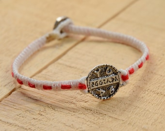 Health Amulet Handwoven Bracelet with Red String for Protection