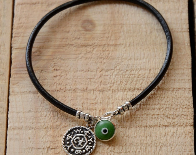 Livelihood Bracelet Charm with Green Evil Eye Charm on Leather Bracelet
