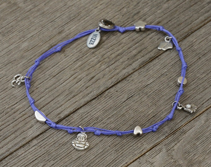 Purple Buddha and Multi Silver Plated Charms Anklet