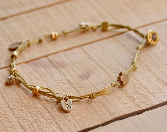 Golden Wax Wire Ankle Bracelet with Lucky Charms