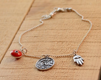 Prosperity & Success Charms with Orange Evil Eye Anklet