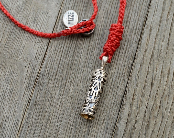 Mezuzah Pendant on Red Hand Knitted Necklace