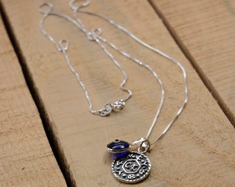 Livelihood Solomon Seal & Evil Eye Charm Necklace in 925 Sterling Silver