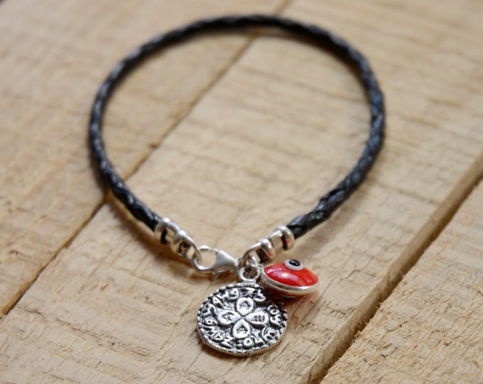 I Love You Solomon Seal & Red Evil Eye Charm on Braided Leather Bracelet for Men and Women