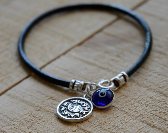 Blue on Leather Evil Eye Protection Bracelet