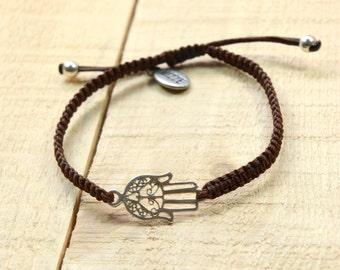 Unisex Hamsa Bracelet for Good Luck and Protection - Adjustable Hamsa Charm Bracelet for Men & Women