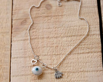 Evil Eye Heart and Hamsa Charm on Sterling Silver Anklet