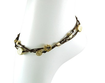 Brown Double Wrap Ties and Charms Anklet for Good Luck and Protection