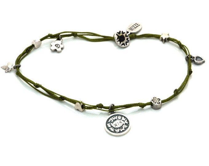 Evil Eye Charm Anklet in Olive Green King Solomon Seal