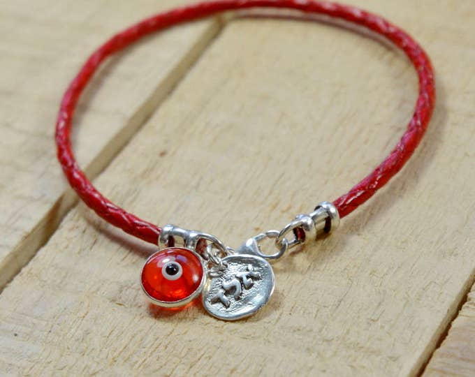 Red Leather Kabbalah Coin Protection Amulet in Silver on Leather Bracelet