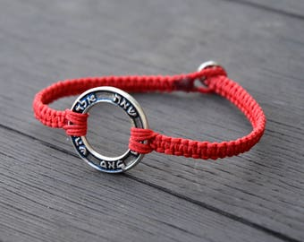 72 Names of God Red Woven Kabbalah Bracelet for Men