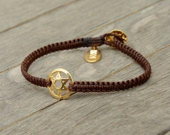 Golden Star of David Charm Bracelet on Macrame Bracelet - Bracelet for women or men