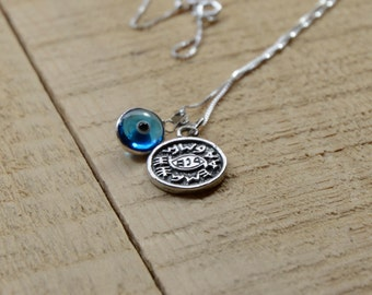 Protection Against Evil Eye Solomon Seal Charm Necklace