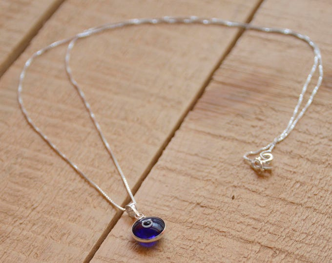 Silver Evil Eye Necklace with Blue Evil Eye Protection Charm on 925 Sterling Silver 19 Inch Box Chain
