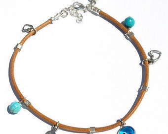 Sterling Silver Turquoise Anklet with Hamsa, Heart & Evil Eye Charms for Protection