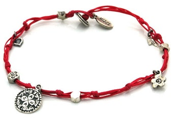 Love Solomon Seal and lucky Charms Anklet in Red