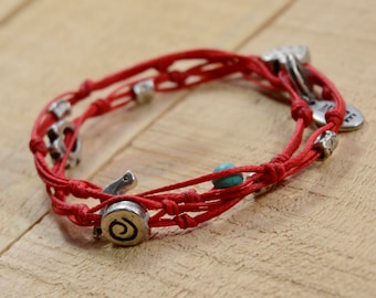 Red Double Wrapping Charms Bracelet for Love and Happiness