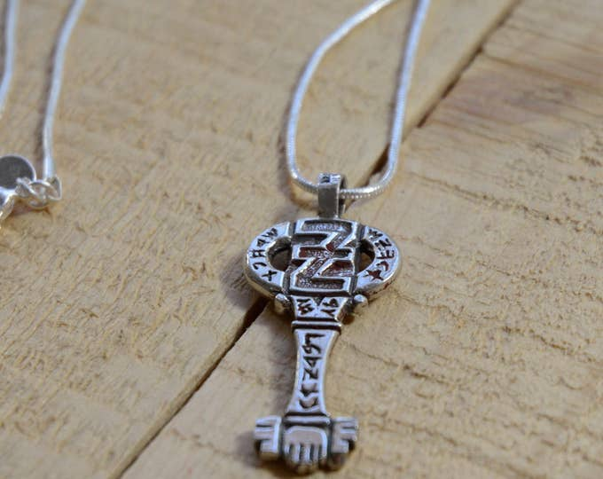 Key Of Wishes Amulet in Sterling Silver on Black Chord Necklace
