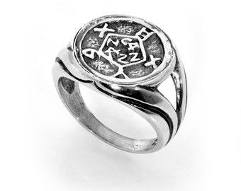 Safe Keeping & Safety King Solomon 925 Sterling Silver Amulet Ring - Choose Size!