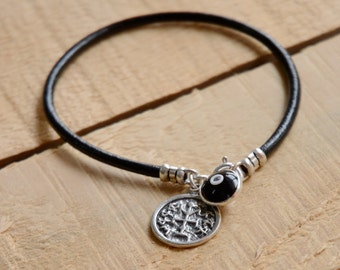 Winners Amulet with Evil Eye Protection Charm on Leather Bracelet for Men & Women