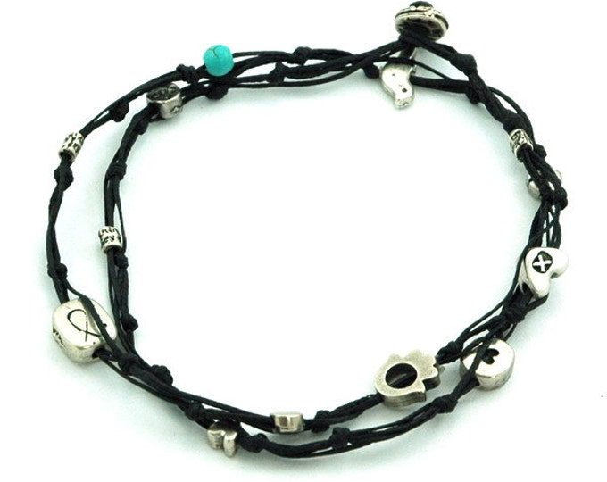 Black Double Wrap Ties and Charms Anklet for Good Luck and Protection