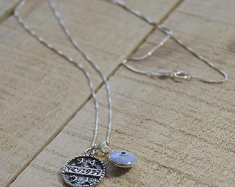 Baby Blue Evil Eye & Health Solomon Seal Necklace