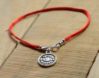 Against Evil Eye Amulet on Red String Bracelet in 8 inches