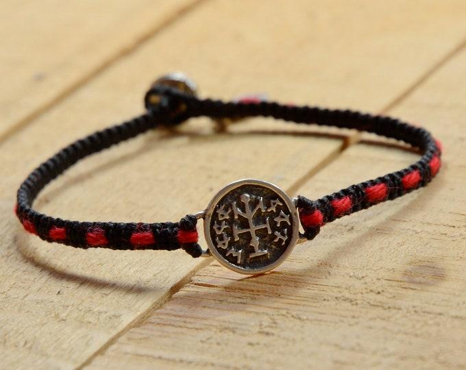 Handmade 925 Silver Winning Amulet on Handwoven Macrame Bracelet with Original Red Kabbalah String Woven In - Men & Women