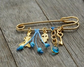 Blue 24K Plated Little Prince Safety Pin Brooch for Baby - Handmade Baby Shower Gift for Crib or Stroller