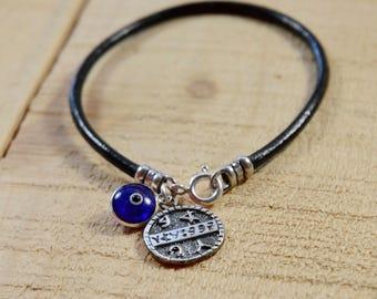 Blue Evil Eye and Health Seal on Leather Bracelet