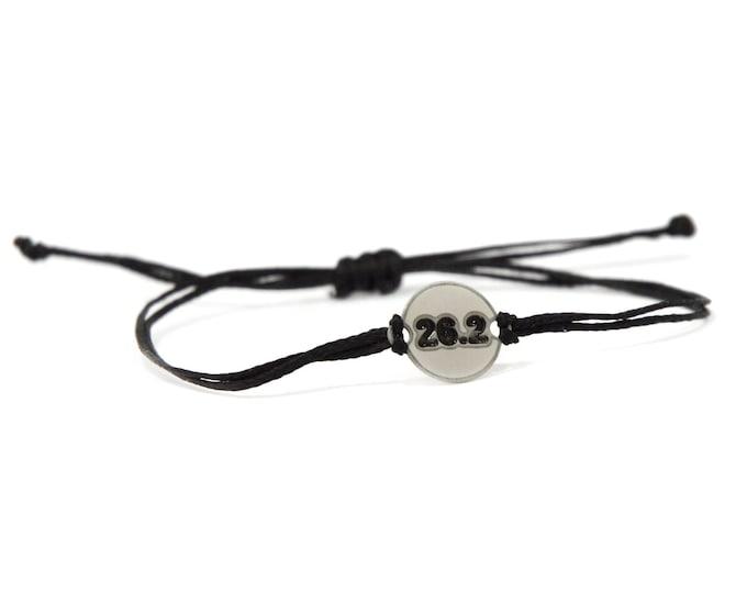 Black Strand with Stainless Steel 26.2 MARATHON Runner Charm, Adjustable Bracelet for Men & Women - Waterproof, Hypoallergenic Jewelry