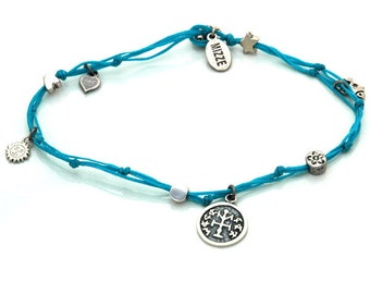 Winner Solomon Seal and lucky Charms Anklet in Turquoise
