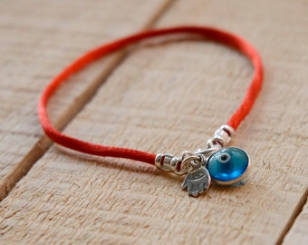 Sterling Silver Evil Eye and Hamsa Hand for Protection Bracelet on Red Silk String