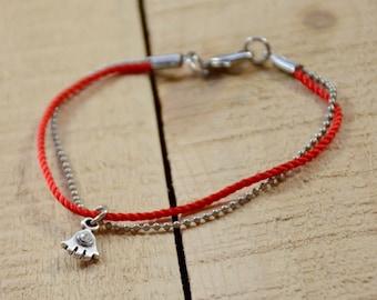 Red String Bracelet with Hamsa Hand Charm