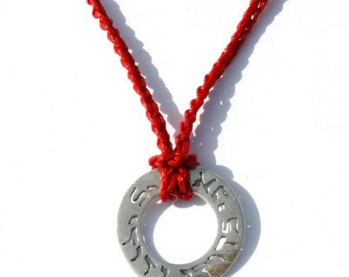 """Red """"I Am My Beloved"""" Handknit Necklace"""