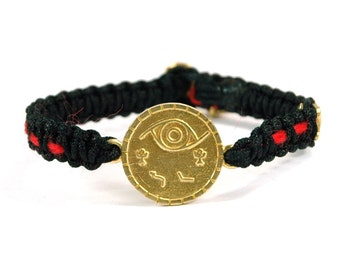 Unisex Brass Protection Charm Bracelet and Signature MIZZE Button on Black Macrame Parachute Chord with Red String Inside