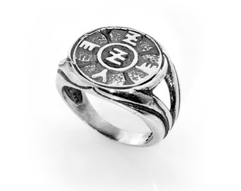 Spiritual Protection King Solomon 925 Sterling Silver Amulet Ring - Choose Size!