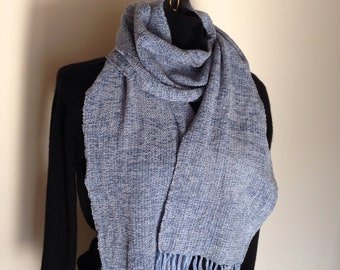This handwoven rayon chenille scarf is pale blue.