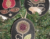 Pre-Cut Primitive Penny Rug Ornament Kits- Wool Embroidery - Set of 3