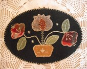 Annie 39 s Garden - Primitive Wool Embroidery Kit -Pre-cut Penny Rug Kit