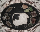 NEW KIT Abby 39 s Wooly Lamb - Penny Rug Candle Mat - Pre-cut Wool Embroidery kit